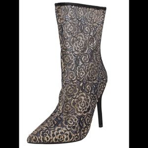 Shoes - Champagne sheer flower lace stiletto mid calf boot